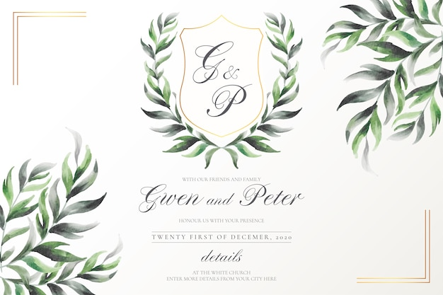 Elegant wedding emblem with watercolor leaves Free Vector