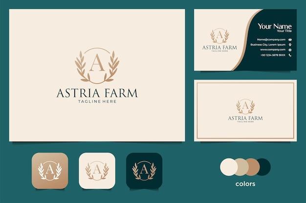 Элегантный свадебный логотип фермы и визитная карточка Premium векторы