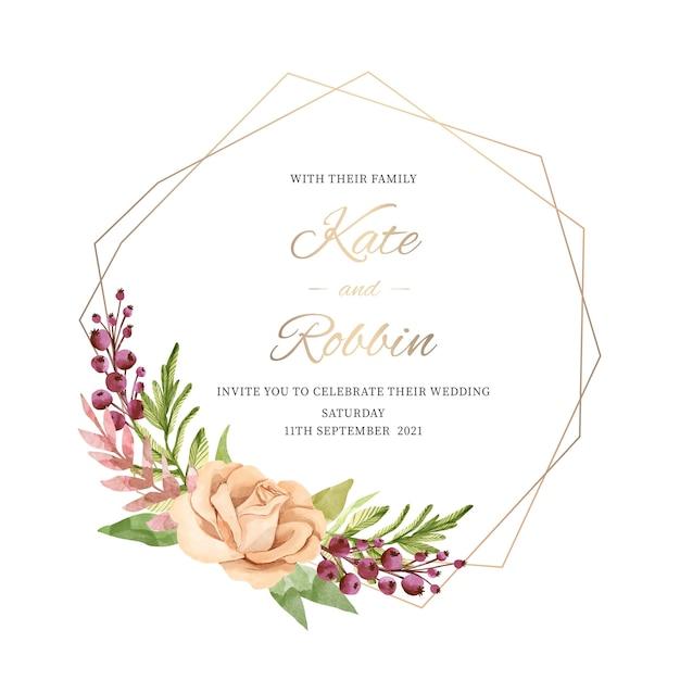 Elegant wedding floral frame concept Free Vector