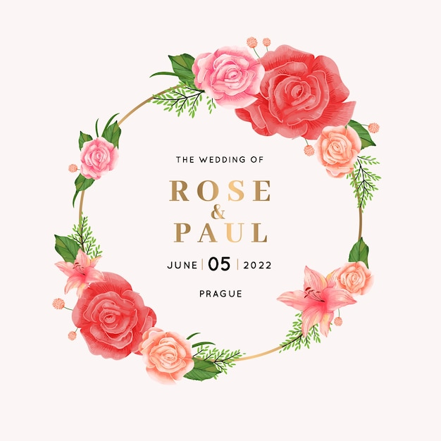 Elegant wedding floral frame Free Vector