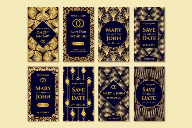 Elegante raccolta di storie di instagram di nozze Vettore gratuito