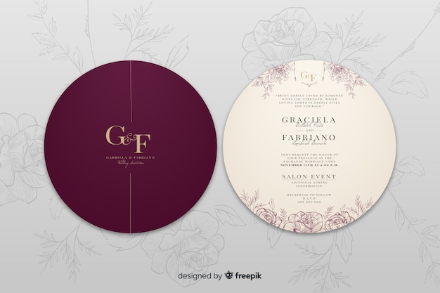 Elegant wedding invitation back and front Free Vector