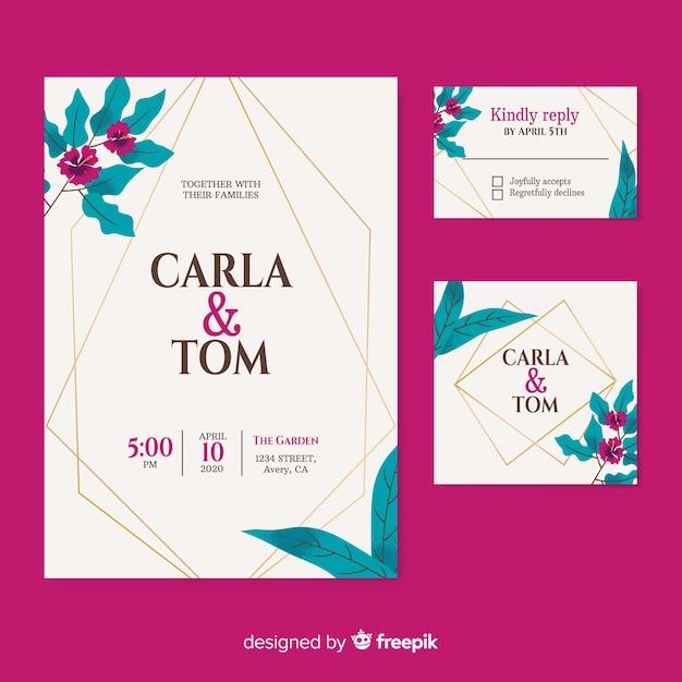 Elegant wedding invitation on burgundy background Free Vector