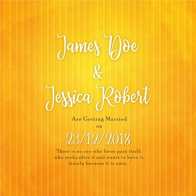 Elegant Wedding Invitation Card in Yellow Background Free Vector