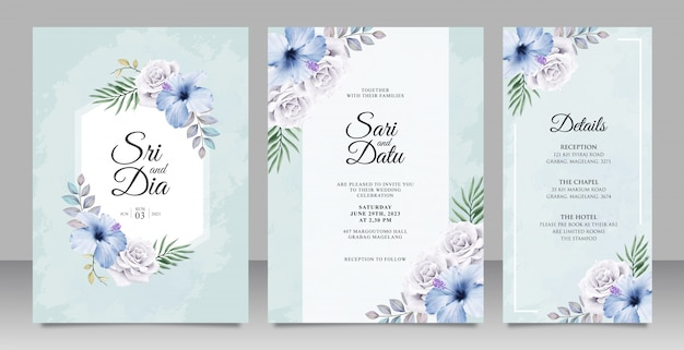 Elegant Wedding Invitation Card Set Template With Beautiful