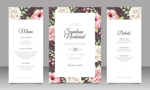Elegant wedding invitation card set with beautiful flowers and leaves Premium Vector
