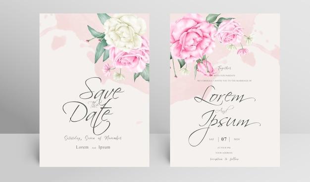 Элегантный свадебный пригласительный билет с цветочными и акварельными всплесками Premium векторы
