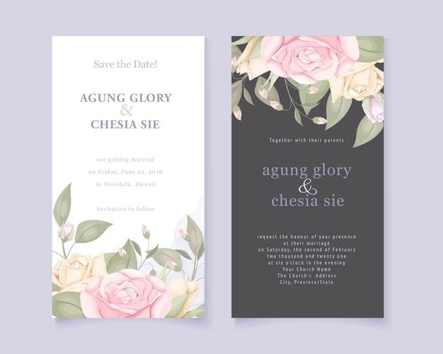 우아한 결혼식 초대 카드 장미와 나뭇잎 설정 프리미엄 벡터