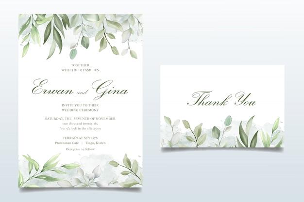 Elegant wedding invitation card set with watercolor leaves Premium Vector
