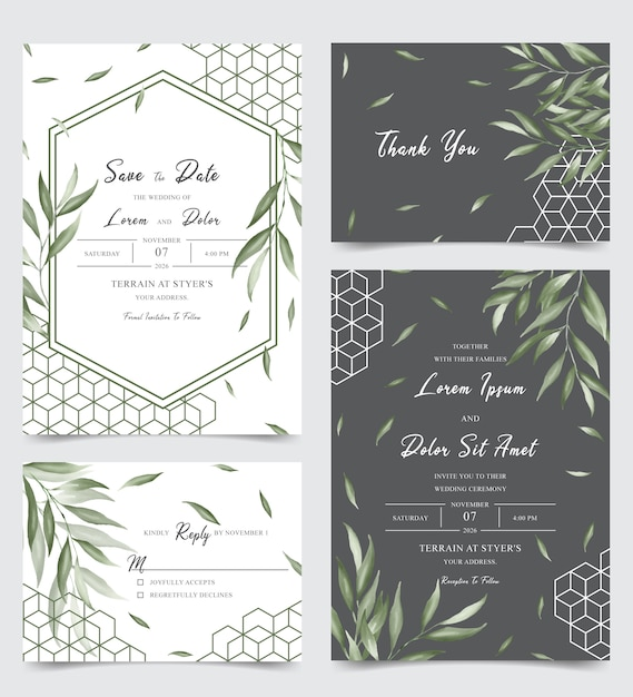 Elegant wedding invitation card set with watercolor leaves Premium Vector
