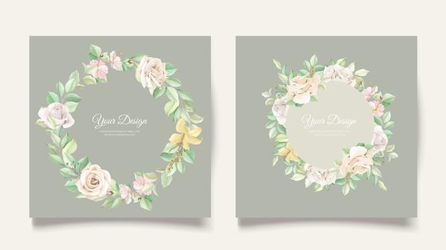 Elegante set di carte invito a nozze Vettore gratuito