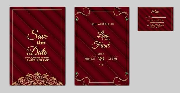 우아한 결혼식 초대 카드 세트 프리미엄 벡터