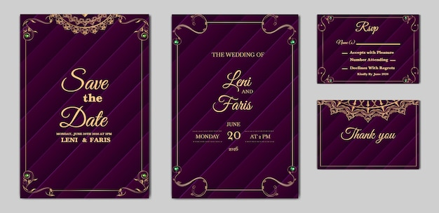 Elegant wedding invitation card set Free Vector