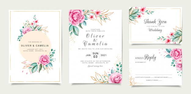 Elegant wedding invitation card template design with roses and outlined glitter leaves Premium Vector