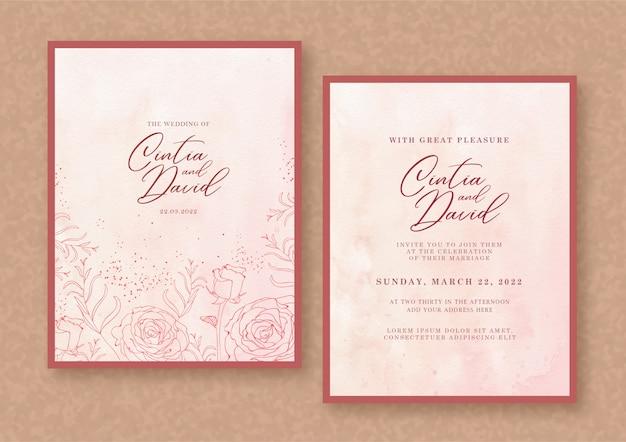 エレガントな結婚式の招待カードテンプレート花背景 Premiumベクター