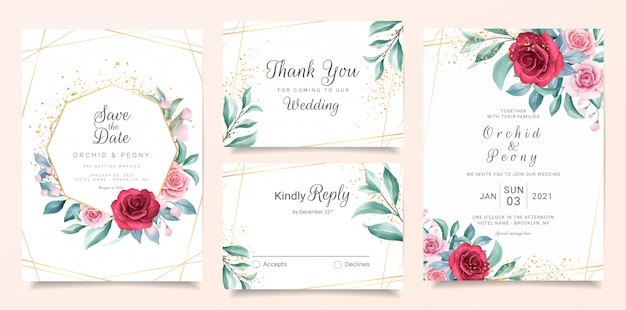Elegant wedding invitation card template set with burgundy and peach watercolor flowers Premium Vector
