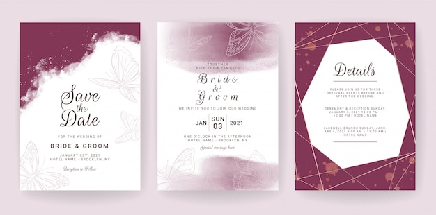 Elegant wedding invitation card template set with maroon and butterflies decoration. Premium Vector