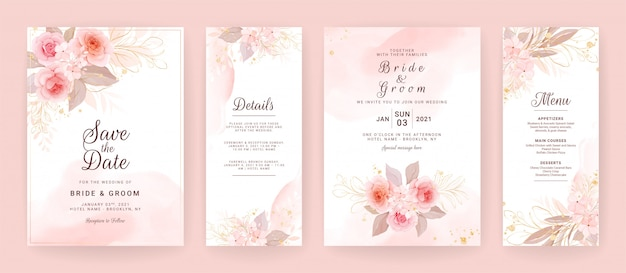 エレガントな結婚式の招待カードテンプレートは、水彩と花の装飾を設定します。ソーシャルメディアストーリーの背景、日付、挨拶、rsvp、ありがとう Premiumベクター