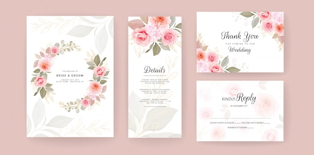 elegant wedding invitation card template set with