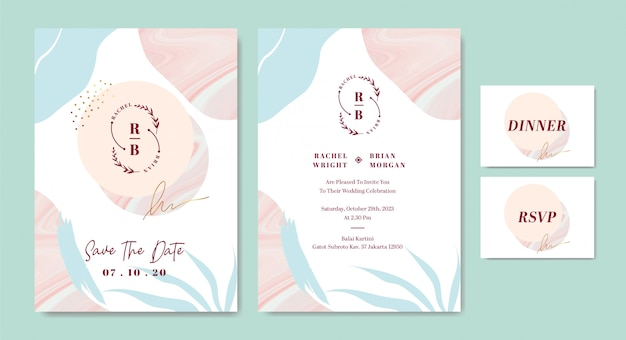 Elegant wedding invitation card template with abstract brush stroke shapes marble Premium Vector
