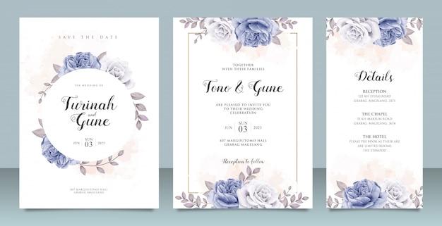 Elegant wedding invitation card template with blue peonies watercolor Premium Vector