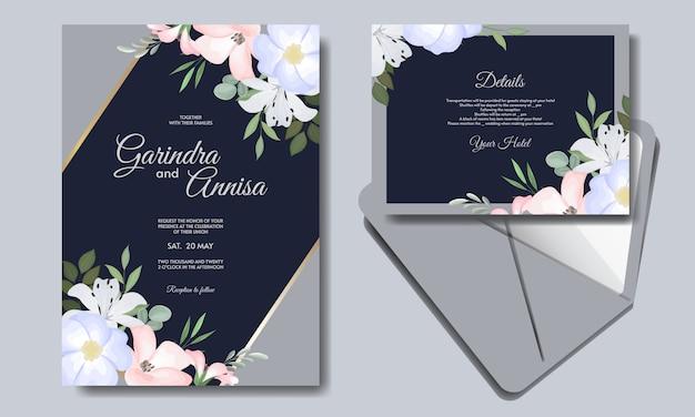 화려한 꽃 감색 프리미엄 Vektor와 우아한 결혼식 초대 카드 템플릿 프리미엄 벡터