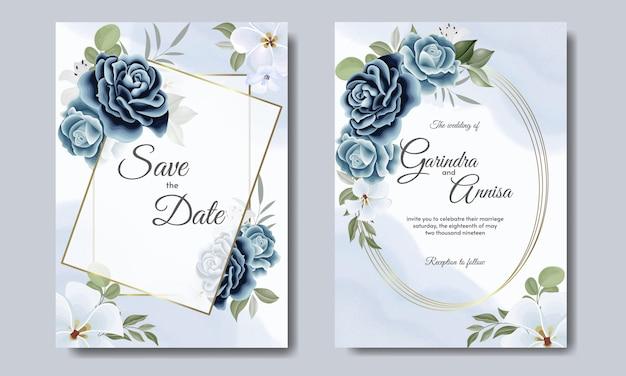 花と葉のネイビーブルーのエレガントな結婚式の招待カードテンプレート Premiumベクター