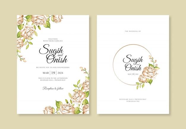 Элегантный шаблон свадебного приглашения с цветочной акварелью Premium векторы