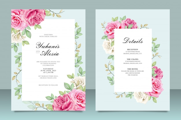 Elegant wedding invitation card template with flowers and leaves Premium Vector