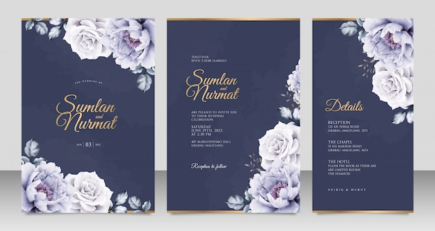 Elegant wedding invitation card template with peonies aquarel on navy blue background Premium Vector