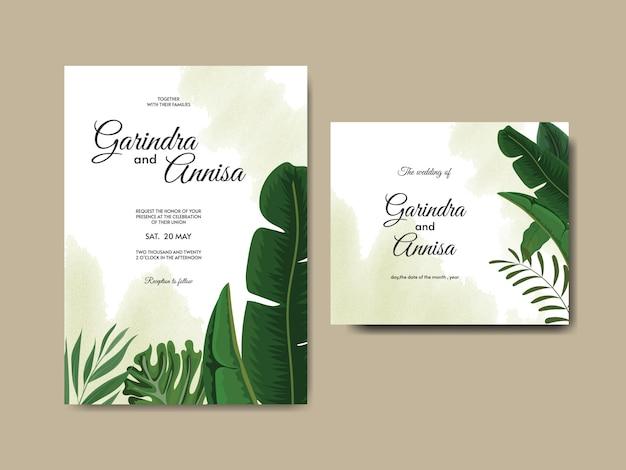 열 대 잎 우아한 결혼식 초대 카드 템플릿 프리미엄 벡터