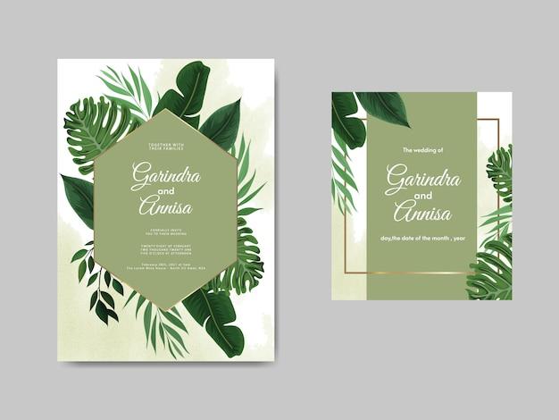 Элегантный шаблон свадебного приглашения с тропическими листьями Premium векторы