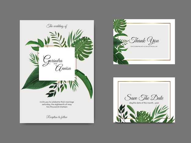 Elegant wedding invitation card template with tropical leaves Premium Vector