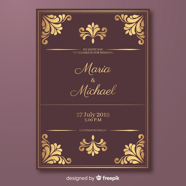 Elegant Wedding Invitation Card Template Vector Free Download