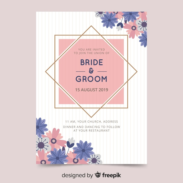 Elegant Wedding Invitation Card Template Vector Free Download