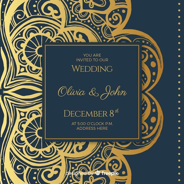 Elegant wedding invitation card template Free Vector