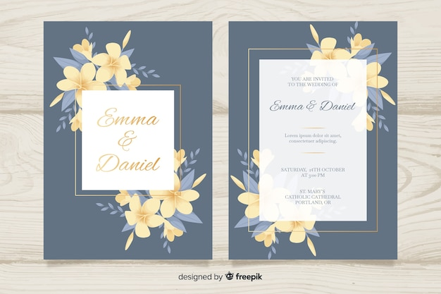 Ready To Print Wedding Invitations: Elegant Wedding Invitation Card Template Vector