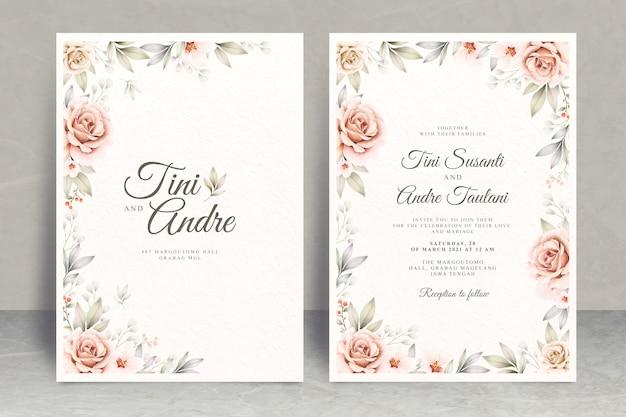 花のフレームの水彩画とエレガントな結婚式の招待カードのテーマ Premiumベクター