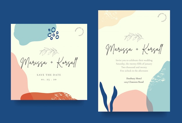 Elegant wedding invitation card with abstract shapes Premium Vector