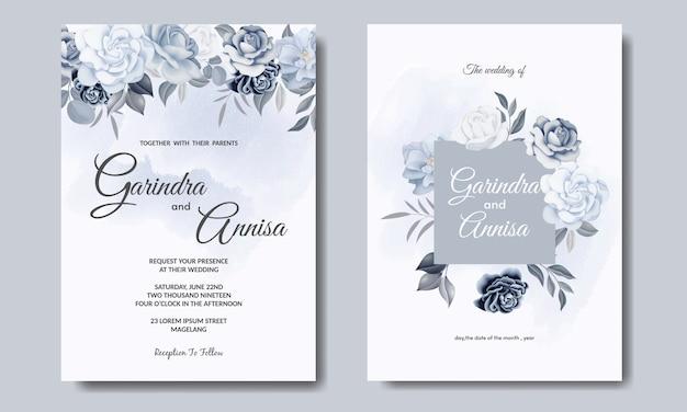 美しい花と葉のテンプレートとエレガントな結婚式の招待カード Premiumベクター