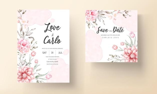 Элегантный свадебный пригласительный билет с красивым цветочным орнаментом Бесплатные векторы