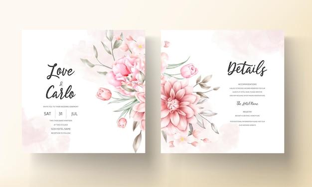 美しい花の装飾が施されたエレガントな結婚式の招待カード 無料ベクター