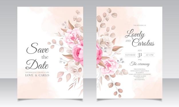 아름다운 꽃과 우아한 결혼식 초대 카드 무료 벡터