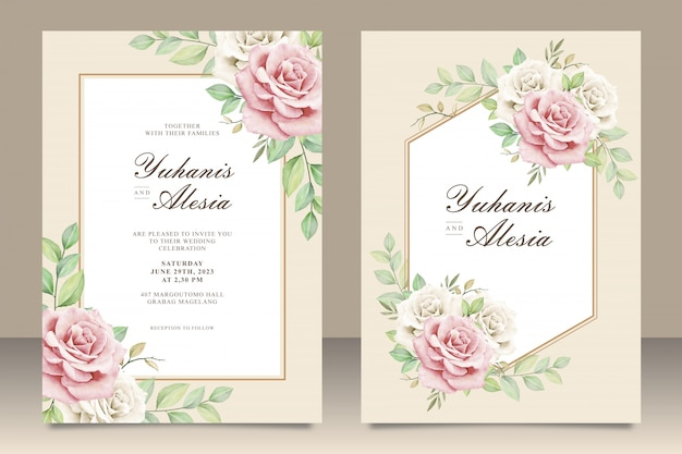Elegant Wedding Invitation Card With Floral Bouquet Vector