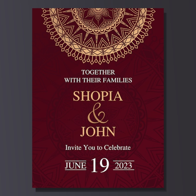 Elegant wedding invitation card with mandala ornament. Premium Vector