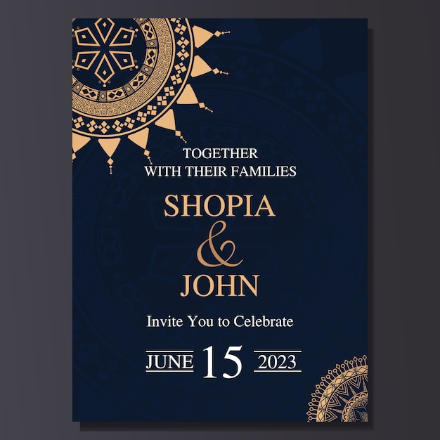 Elegant wedding invitation card with mandala ornament. Premium Vector