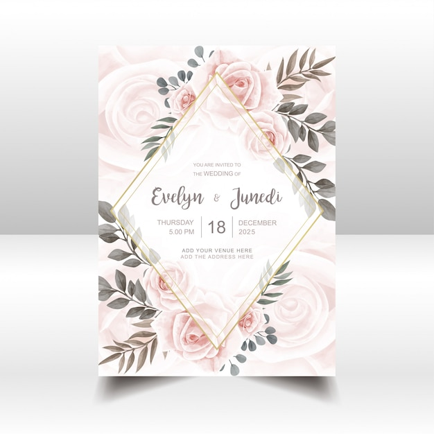 Elegant wedding invitation card with watercolor floral and golden frame Premium Vector