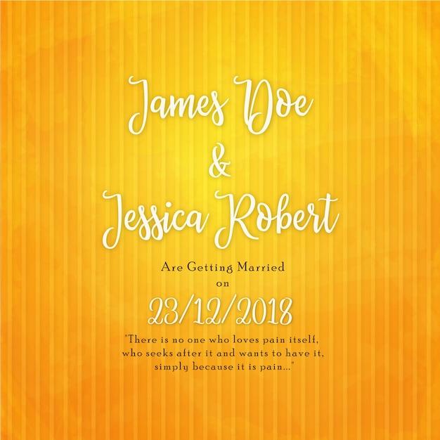 Elegant Wedding Invitation Card In Yellow Background