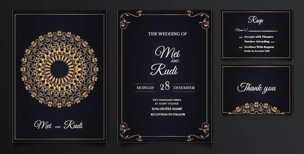 Set di carte invito matrimonio elegante Vettore gratuito