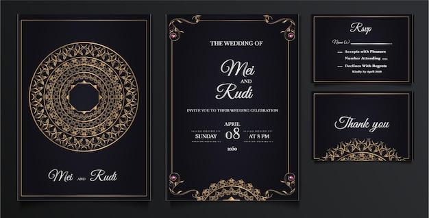 Elegant wedding invitation cards set Free Vector